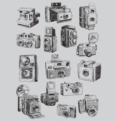 Sketchy Vintage Camera Set vector image