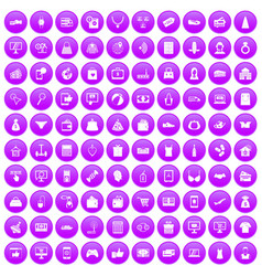 100 online shopping icons set purple vector