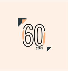 60 years anniversary retro line template design vector