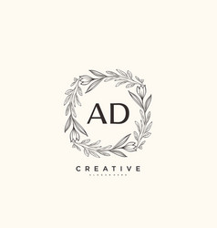Ad beauty initial logo art handwriting logo vector