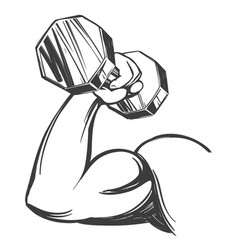arm bicep strong hand holding a dumbbell icon vector image