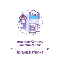 Automate contract communications concept icon vector