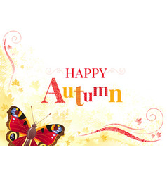 Autumn background with peacock butterfly vector