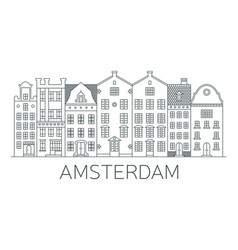 banner amsterdam city in flat line style vector image