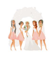 beautiful young bride in wedding dress vector image