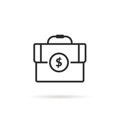 black thin line finance briefcase icon vector image