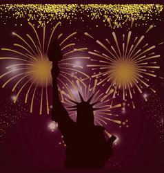 bright fireworks cartoon vector image