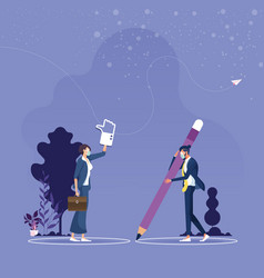 businessman and woman keep social distance vector image