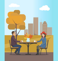 cafe in autumn city park people in love vector image