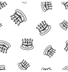 cake with candle seamless pattern background vector image