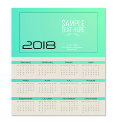 Calendar for 2018 template flyer design on green vector