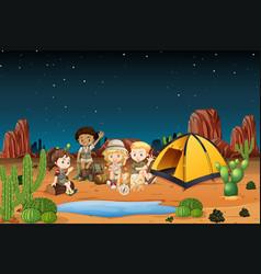 Camping children in desert at night vector