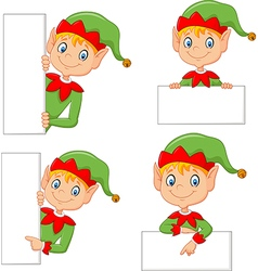 Cartoon cute elf with blank vector image