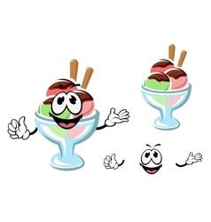 Cartoon ice cream on a glass vector