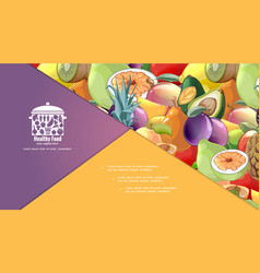 cartoon organic healthy fruits composition vector image