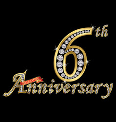 celebrating 6th anniversary golden sign vector image