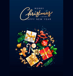 christmas greeting card with holiday objects vector image
