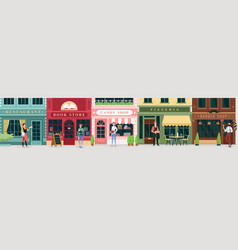 city street store catering service set retro vector image