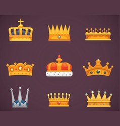Collection crown awards for winners champions vector