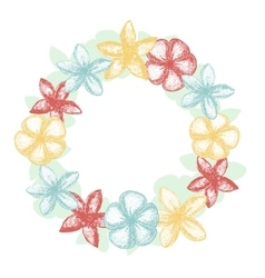 Colorful frangipani garland vector