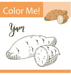 Coloring book or page of vegetable vector