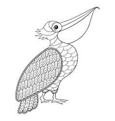 Coloring page with Pelican zentangle vector
