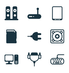 Computer icons set with personal computer vector