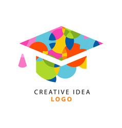 Creative idea logo template with flat icon of vector