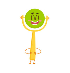 Cute and funny baby rattle toy character with vector
