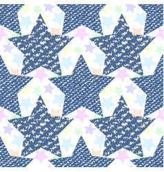 Denim jeans texture seamless pattern stars vector