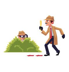 detective character doing surveillance work vector image