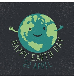 Earth Day Earth smiling and reveals a hug Happy vector