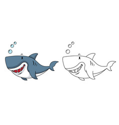 educational coloring book-shark vector image
