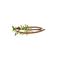 firewood branches with tree leaves isolated on vector image