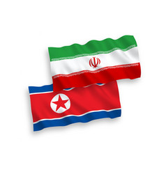 Flags north korea and iran on a white vector
