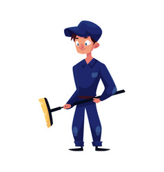 flat young mechanic boy with broom vector image