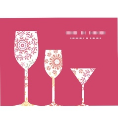 Folk floral circles abstract three wine glasses vector