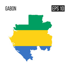 gabon map border with flag eps10 vector image