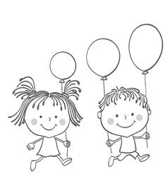 Girl boy baloons vector