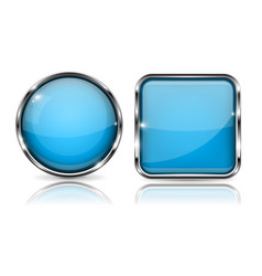 glass buttons blue square and round 3d buttons vector image