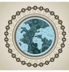 globe with social media icons vector image