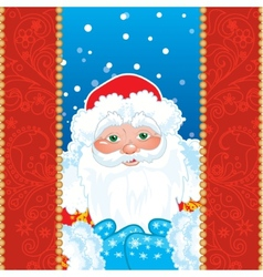Grandfather Frost Santa Claus in red frame with vector image