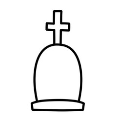 gravestone with cross cemetery icon line style vector image