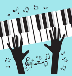 Hands playing piano with notes music blue vector