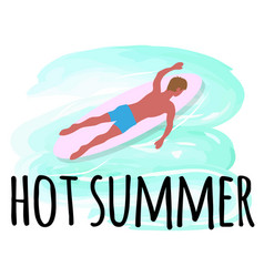 hot summer activities man swimming on surfboard vector image