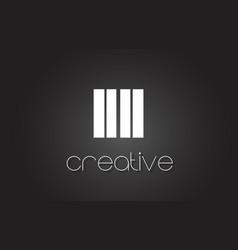 Ii i i letter logo design with white and black vector