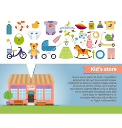 Kids shop children clothing and toys vector