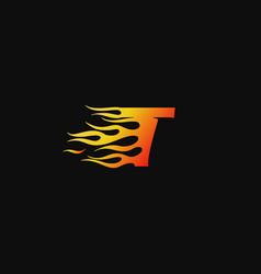 letter t burning flame logo design template vector image