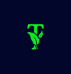 Letter t leaf nature eco green logo template vector