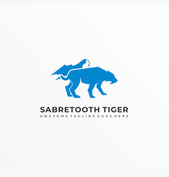 Logo saber tooth blue color silhouette style vector
